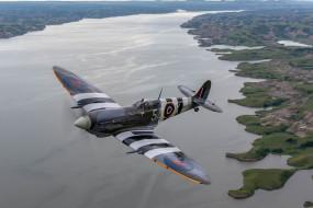 панорама, Северная Дакота, Lake Sakakawea, Вторая мировая война, британский истребитель, North Dakota, полёт, Spitfire Mk IX, Озеро Сакакавиа