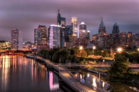 города, - огни ночного города, schuylkill, филадельфия, огни, ночь