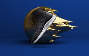 мяч, реклама, обувь, рендеринг, кроссовки, nike