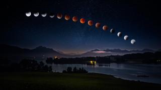 лунное затмение 2018, стадии, звездное, июль, лунное затмение, ночное, водоем, полнолуние, дымка, вершины, берег, луна, темнота, огни, ночь