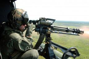 пулемет, вертолет, солдат, стрельба