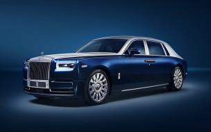 phantom, британские автомобили, вид спереди, роллс-ройс, синий, внешний вид, лимузин