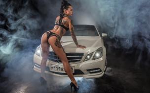 автомобили, -авто с девушками, девушка, татуировка, поза, модель, angelica, anderson, белый, автомобиль, брюнетка
