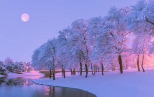 природа, деревья, снег, река, зима, вечер, луна