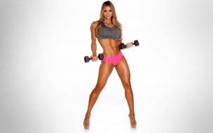спортивная фигура, Sexy Babe, Laura Michelle Prestin, fitness, гантели, блондинка, фон, взгляд, девушка