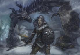 обои для рабочего стола 2000x1380 видео игры, the elder scrolls v,  skyrim, дракон, меч, щит, униформа, фон, взгляд, девушка