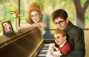 дух, портрет, фортепьиано, женщина, ребенок, мужчина