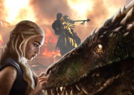 дракон, мужчина, фон, девушка