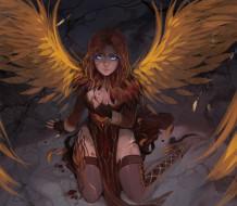 девушка, взгляд, поза, крылья, ангел, фэнтези, арт, art, angel