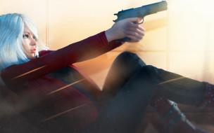 пистолет, рендеринг, поза, девушка, блондинка, профиль
