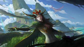 девушка, взгляд, скалы, рука, крылья, перья, фэнтези, арт, жест