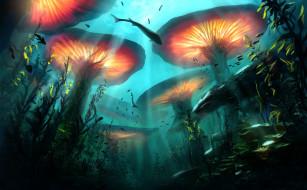 глубина, растения, рыбы, фэнтези, арт, подводный мир