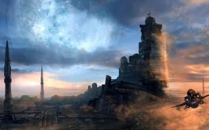 небо, облака, фантастика, корабль, арт, sci-fi