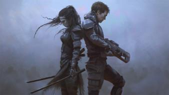 девушка, оружие, арт, парень, sci-fi, спина к спине