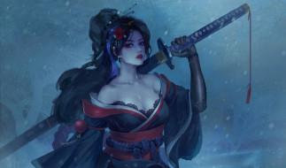 цветок, холод, взгляд, девушка, снег, оружие, фэнтези, арт