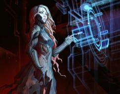 фантастика, технологии, оружие, девушка, взгляд, sci-fi, андроид