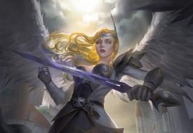 angel, ангел, крылья, меч, арт, оружие, фэнтези, доспехи, девушка, взгляд