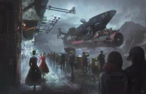 люди, фантастика, улица, корабль, арт, sci-fi