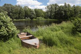 лодка, лес, деревья, вода, озеро, природа