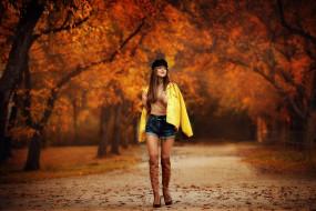 деревья, осень, женщины на открытом воздухе, дмитрий архар, ksenia, анастасия бармина, куртка