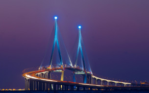 Южная Корея, огни, мост