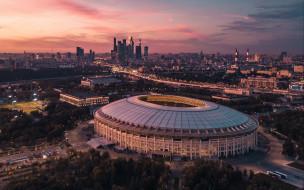 мегаполис, москва, столица, небоскребы, россия, города, стадион лужники, панорама