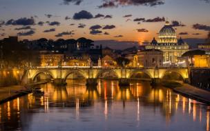 Италия, Рим, Тибр, река, огни, мост, ночь