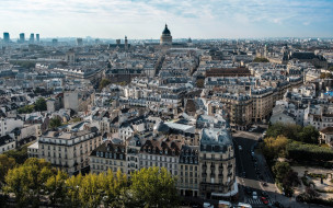 столица франции, вид с верху, город, утро, париж, франция, улицы