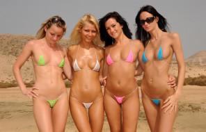 разные, Девушки, купальник, бикини, поза, макияж, очки, пляж, пирсинг, стоят