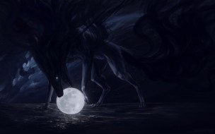 фэнтези, оборотни, небо, вода, облака, ночь, животное, луна, арт, пасть, moon