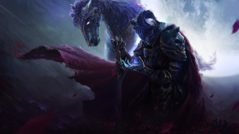 фэнтези, нежить, животное, конь, магия, череп, меч, доспехи, арт, всадник