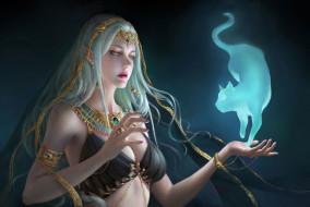 фэнтези, магия, кот, взгляд, девушка, украшения, животное, арт