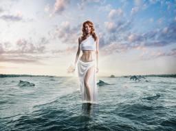морская вода, дельфины, женщины, художественный