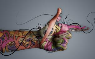 пальцы, линии, узор, рука