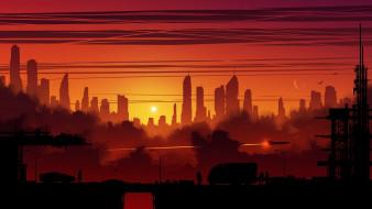 город, здание, закат, wallhaven, kvacm, фэнтези, иллюстрации, научная фантастика
