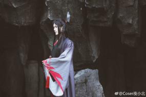 парень, костюм, кимоно, скала
