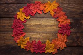 доски, круг, фон, осень, листья, креатив, кленовые, разноцветные