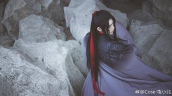 кимоно, ленты, волосы, камни, парень