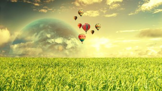 разное, компьютерный дизайн, поле, планеты, небо, полет, шары
