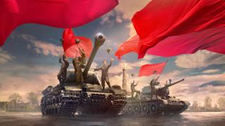 танки, советские, ликование, площадь, танкисты, World of Tanks, знамёна, WOT, красные