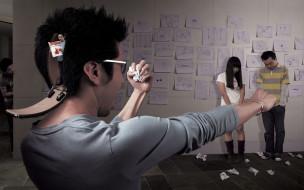 голова, бумажки, дверца, люди, рисунки