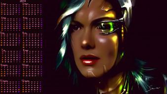 женщина, лицо, взгляд, робот
