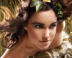 взгляд, женщина, лицо, макияж, листья