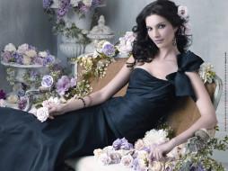 женщина, взгляд, кресло, цветы
