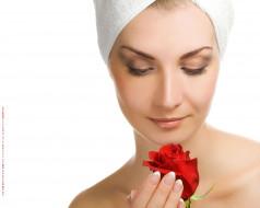женщина, лицо, роза, цветок