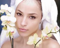 женщина, взгляд, цветы, лицо