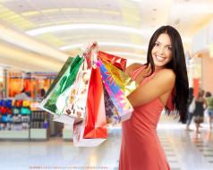 женщина, пакет, взгляд, улыбка