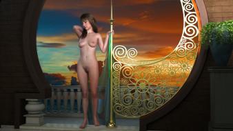 эро-графика, 3д-эротика, грудь, фон, взгляд, девушка