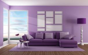 диван, интерьер, дизайн, окно, гостиная, purple