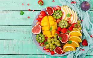 berries, tropical, fruits, strawberry, sweet, wood, fresh, манго, фрукты, summer, виноград, киви, клубника, colorful, апельсин